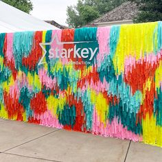 Flagging tape fringe backdrop by Girl Friday Band fringe background from Girl Friday Party Kulissen, Party Time, Streamer Backdrop, Backdrop Event, Photowall Ideas, Backdrops For Parties, Diy Party Decorations, Spring Decorations, Event Decor