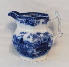 "Early FLOW BLUE - 6 1/2"" Pitcher - JAPAN by Fell & Company #ThomasFellCoEngland"