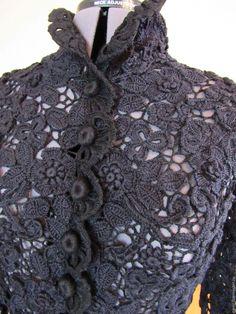 "Buy Costume ""Black Lace"" in the online store at the Fair of Masters Freeform Crochet, Crochet Motif, Crochet Lace, Irish Crochet Patterns, Lace Patterns, Crochet Butterfly, Crochet Flowers, Japanese Crochet, Bolero"