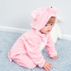Autumn And Winter Cute Pig Baby Romper Flannel Infant Animal Onesie Disney Baby Costumes, Monkey Costumes, Onesie Costumes, Animal Costumes, Baby Kostüm, Baby Pigs, Cute Baby Onesies, Cute Baby Clothes, Toddler Suits