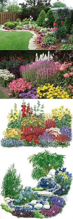 Готовые схемы цветников и клумб из многолетников и однолетников | Цветы | Постила