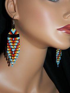 Native American Color Fiesta  Beaded Earrings MADE by LakotaCharm, $30.00