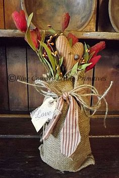 Primitives ~ Handcrafted Burlap Jar with Florals ~ Love ~ Valentines Day.  Available for sale www.finecountrylivingprimitives.com