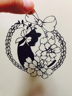 Princess (Japanese Papercutting - Kirie) Original Japanese Title: 箱入り娘 (hakoiri musume) Cats silhouettes are easy to draw for me. Maybe it's because I have a cat? lol Yo...