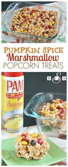 PUMPKIN SPICE MARSHMALLOW POPCORN TREATS