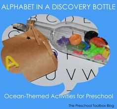 """Ocean-Themed """"Message in a Bottle"""" - learning to recognize letters in preschool and kindergarten."""