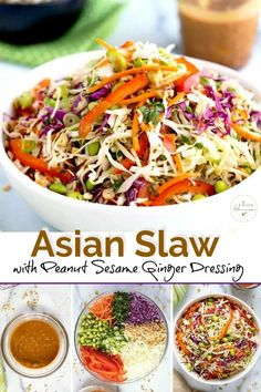 This Asian Slaw is crispy, crunchy and tossed in the most flavorful Peanut Sesame Ginger Dressing. This Asian coleslaw recipe is easy to make and great served as a side dish, to top your favorite sandwich or as a main salad. Make ahead and perfect for barbecues, picnics and potlucks. #healthy #easy #recipe #Asiancoleslaw #peanutdressing #nomayo #homemade #cabbage #peanuts Salade Healthy, Healthy Salad Recipes, Vegetarian Recipes, Cooking Recipes, Asian Slaw Recipes, Kitchen Recipes, Beef Recipes, Cooking Tips, Easy Recipes
