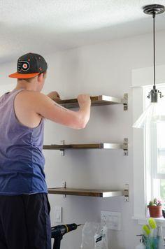 DIY Open Shelving (Ikea Hack) | Hometalk  EKBY BJÄRNUM  Connecting bracket, aluminum.  Product # 301.690.02