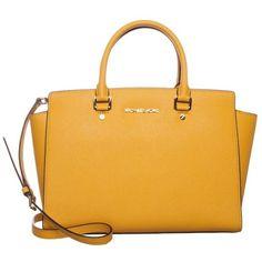 MICHAEL Michael Kors SELMA Handbag sun (27,490 INR) ❤ liked on Polyvore featuring bags, yellow, zip handle bags, yellow leather bag, michael michael kors bags, real leather bag and leather handle bag