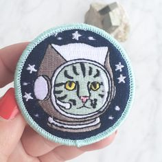 Space Cat Patch / Iron On Patch by WildflowerandCompany on Etsy