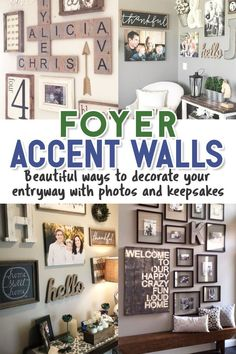 DIY Gallery Wall Ideas - Accent Wall Decorating Ideas To Copy - Decluttering Your Life Foyer / Accent Walls / Beautiful ways to decorate your entryway with photos and keepsakes Craft Room Decor, Wall Decor, Diy For Teens, Diy For Kids, Cheap Home Decor, Diy Home Decor, Foyer Decorating, Decorating Ideas, Dollar Tree Organization