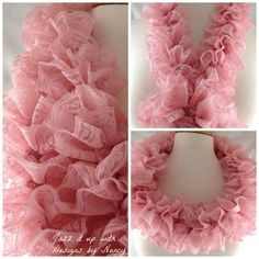 Pink Ruffle Lace Infinity Scarf Red Heart Sassy Lace yarn Rose Dust
