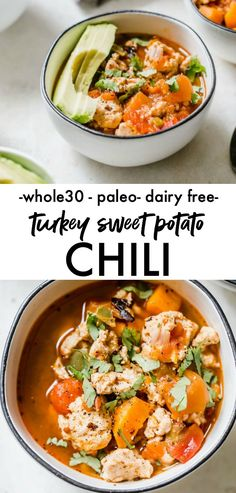Turkey Sweet Potato Chili - a approved chili recipe that uses sweet potato in place of beans and is ready in just 30 minutes! Turkey Sweet Potato Chili - a approved chili recipe that uses sweet potato in place of beans and is ready in just 30 minutes! Whole 30 Soup, Paleo Whole 30, Whole 30 Recipes, Healthy Soup Recipes, Chili Recipes, Real Food Recipes, Turkey Sweet Potato Chili, Sweet Chili, Turkey Chili