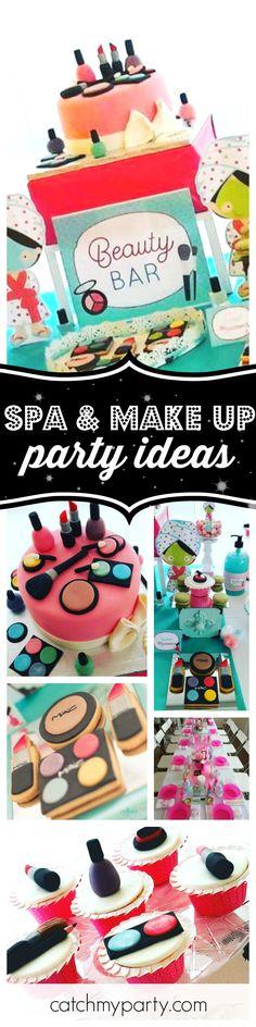 Makeup party cake spa birthday 53 new ideas Spa Birthday Parties, Birthday Party Themes, Cake Birthday, Birthday Makeup, Birthday Ideas, Pamper Party, Spa Party, Birthday Fashion, Bday Girl
