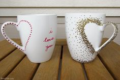 Take sharpie pens of different colors and create patterns on the white mug to change the look. You can also write a love message on it.