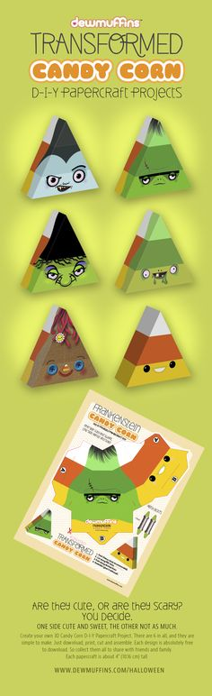 Transformed Halloween Candy Corn D-I-Y Paper craft Projects by Dewmuffins. Free download at http://www.dewmuffins.com/halloween #halloween #candycorn #papercraft