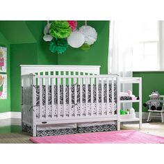 Graco - Woodbridge 4-in-1 Fixed-Side Crib and Changing Table Combo, White $179