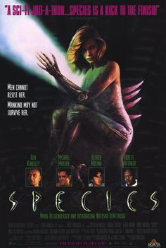"""Species"" (1995). Natasha Henstridge, Michael Madsen, Forest Whitaker, Alfred Molina, Ben Kingsley. Sci-fi 