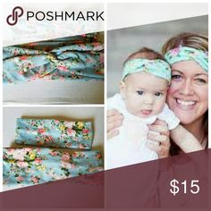 New blue floral mommy and me headband set You will be receiving one adult sized twisted Boho blue floral headband and one baby/toddler sized headband. Made from cotton.  Baby fits 0-4 years  Adult fits 4 years and up Accessories Hair Accessories