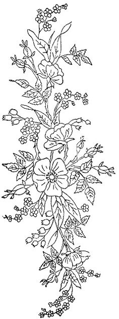 Floral spray horizontal for FURN Silk Ribbon Embroidery, Hand Embroidery Patterns, Cross Stitch Embroidery, Embroidery Designs, Colouring Pages, Coloring Books, Monochrom, Craft Patterns, Embroidered Flowers