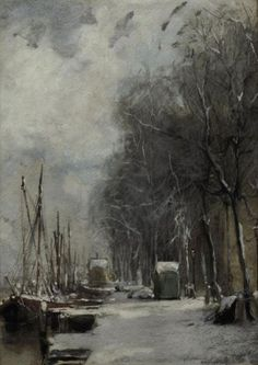 Johan Hendrik van Mastenbroek (1875-1945) | A quay in winter watercolour and gouache on paper| 19th Century, Drawings & Watercolors | Christie's