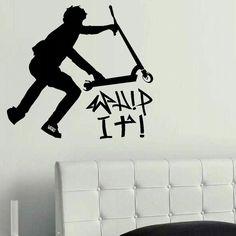 LARGE STUNT TRICK SCOOTER CHILDREN BEDROOM WALL MURAL STENCIL ART