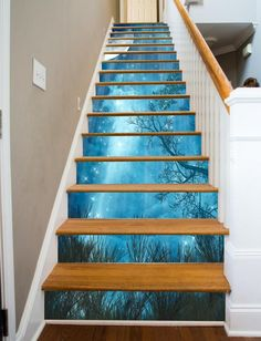 Bule Ocean 012 Stair Risers Decoration Photo Mural Vinyl Decal Wallpaper CA Escalier Art, Escalier Design, Stairway Art, Stairway To Heaven, Decoration Photo, Painted Stairs, Autumn Painting, Staircase Design, Staircase Ideas