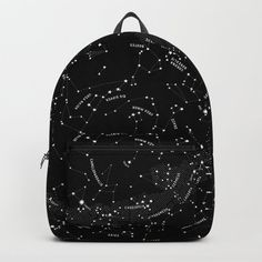 Constellation Map - Black & White Backpack by mmerlin Chic Backpack, Black Backpack, Stylish Backpacks, Cool Backpacks, Cute School Bags, School Trends, One Piece Cosplay, Creative Bag, Constellation Map