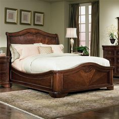 Heritage Court Queen Sleigh Bed with Low Profile Footboard by Legacy Classic