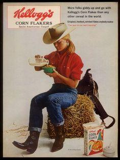 1965 Pretty Cowgirl Photo Kellogg's Corn Flakes Cereal Vintage Print Ad   eBay..