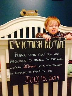 Crib Eviction notices...LOVE IT!  LOL
