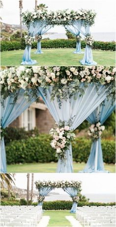 Beautiful Wedding Ceremony | Wedding Backdrop | Blue and White Wedding | Coastal Wedding