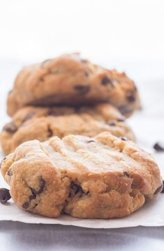 Thick Peanut Butter Chocolate Chip Cookies, so easy the best you will every eat, soft and full of chips. I have to go make some more!