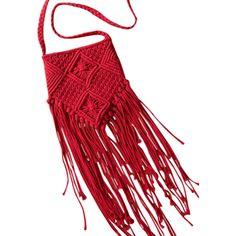 Fringe Crochet Crossbody Bag Red ($21) ❤ liked on Polyvore featuring bags, handbags, shoulder bags, crochet crossbody purse, fringe handbags, red crossbody purse, fringe shoulder bag and crossbody handbags