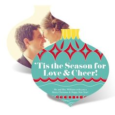 """""""This the Season for Love & Cheer!""""  Love and Cheer  - Photo Holiday Card for Couples!"""