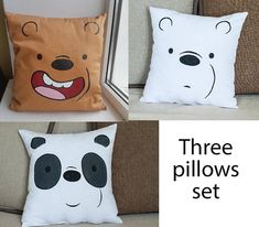This is Bear Throw Pillow inspired by Grizz Bear from We Bare Bears As I love this show, I decided to make the throw pillows, resembling these cute bears, for the fans like me :) ●▬▬▬▬▬▬●●● about Grizz Bear throw pillow :●●●▬▬▬▬▬▬● ★Size: 40x40 cm = 15.7x15.7 in ★Fabric - gabardine