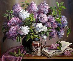 Tea with lilacs • artist: O. Vorobeva