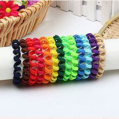 50Pcs Children'S Telephone Line Hair Ring Girls Rubber Band Hair Rope Headdress