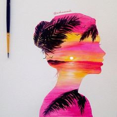 15 best painting ideas images on water colors, drawing - double exposure painting Art Inspo, Inspiration Art, Beautiful Drawings, Cute Drawings, Art Du Croquis, Pinturas Disney, Art Disney, Silhouette Painting, Double Exposure