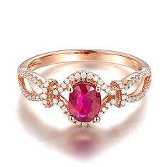 Solid 14K Rose Gold Genuine Natural Diamond Blood Ruby Engagement Wedding Ring