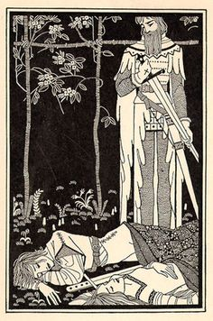 He watched them as they lay by: Mac Harshberger (Artist) from: Tristan and Iseult (P. 110) - 1927