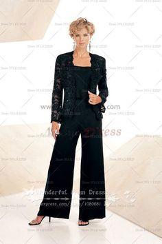 bbc9d166cc799 black lace Latest Fashion Three Piece mother of the bride dress pants sets  nmo-078