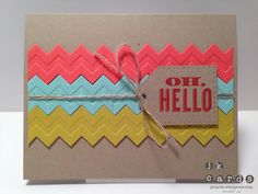 Stampin' Up!, Fab Friday 16, Oh, Hello!, Chevron Embossing Folder, Simply Scored Diagonal Plate, Essentials Paper-Piercing Pack, Paper-Piercing Tool, Linen Thread