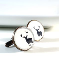 3a5079de6fbe Items similar to Stag Cufflinks Personalized Silhouette Wild Animal Cuff  Links PC590 on Etsy. Cufflink SetGift ...