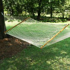 Hang a Pawleys Island® Large Original DuraCord Rope Hammock - Oatmeal in our back yard.