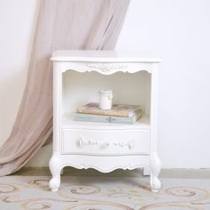 Single White Nightstand with 1 Drawer $236.00 #thebellacottage #shabbychic #OOAK