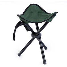 Folding Tripod Bench Leather Stool Seat Camping Fishing Picnic Hiking Portable
