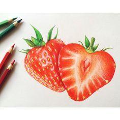 Erdbeeren, strawberry, frais, Виктория, клубника, иллюстрация, рисунок, цветные карандаши, illustration, color pencil