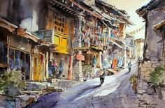 Shangrila China .. Watercolor by Thanakorn