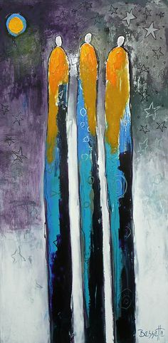 """Jeanne Bessette at Mirada Fine Art, 'By the Moon,' 48"""" x 24"""", Original Acrylic/Mixed Media on Canvas"""